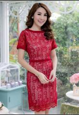 ชุดเดรสผ้าลูกไม้ ทอลายดอกกุหลาบ #ชุดเดรสสีแดง Picture