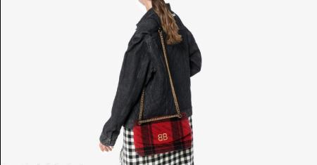 กระเป๋า Balenciaga Red & Black Medium Plaid BB Round Bag Picture