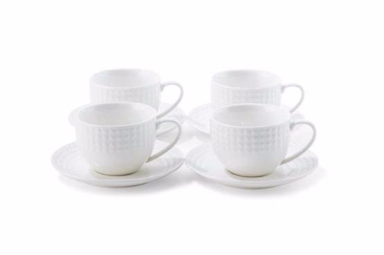 CUIZIMATE ชุดถ้วยกาแฟสำหรับ 4 ที่ รุ่น Caprice Cheese สีขาว 8 ชิ้น