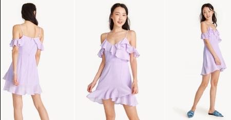 POMELO : Mini Textured Ruffle Cold Shoulder Dress (สีม่วง) Picture