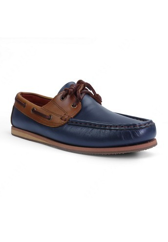 Brown Stone รองเท้าหนังแท้ Signature Leather Boat Shoes - Navy and Beige