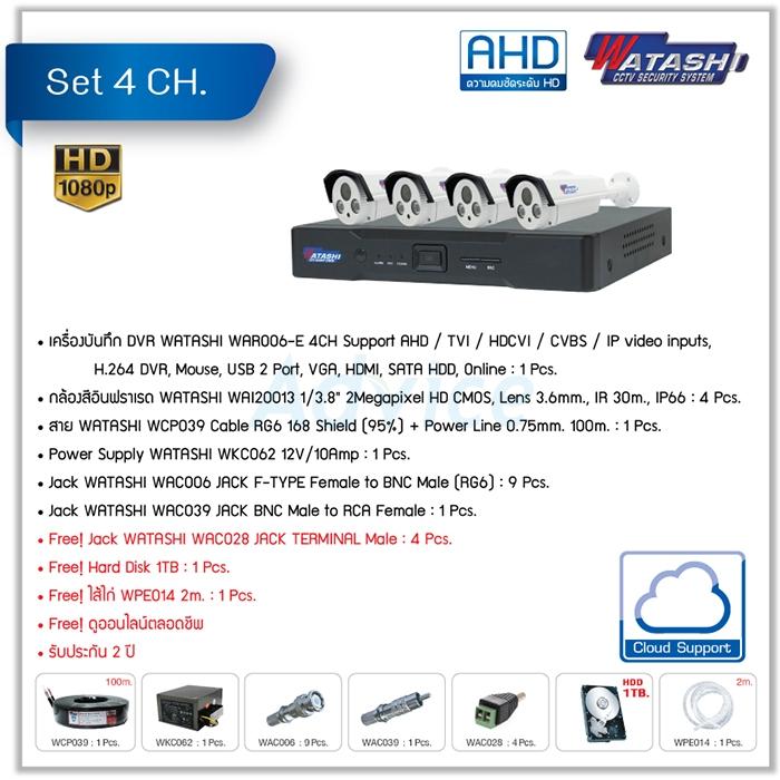 CCTV Set. 4CH. AHD WATASHI#WAR006-E/WAI20013