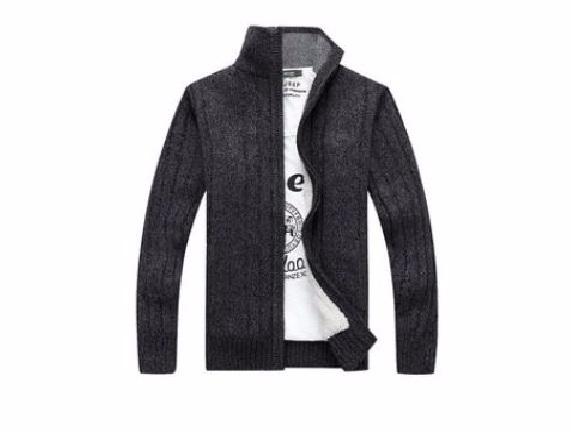 เสื้อแขนยาว Thicken Warm Front Zipper Stand Collar Cardigan