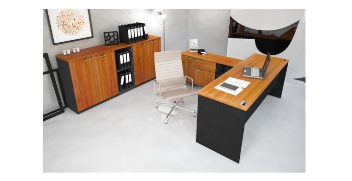 Able โต๊ะทำงาน สีเชอร์รี่ สไตล์คอนเทมโพรารี