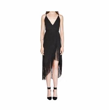 ชุดเดรส สีดำ V collar tassel open back dress Picture